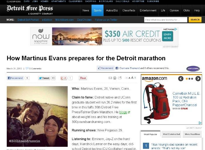 How Martinus Evans prepares for the Detroit marathon - Detroit Free Press - freep.com