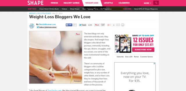 Weight loss bloggers